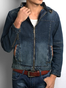 Ericdress Zip Denim Stand Collar Men's Jacket