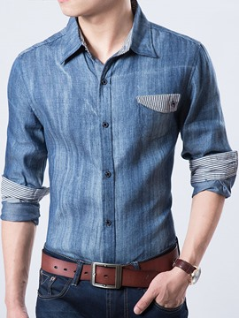 Ericdress Patched Denim Long Sleeve Men's Shirt