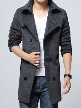 Ericdress Double-Breasted Lapel Long Men's Woolen Coat