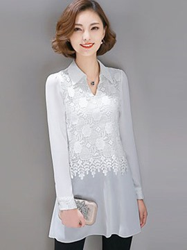 Ericdress Lace Patchwork Chiffon Blouse