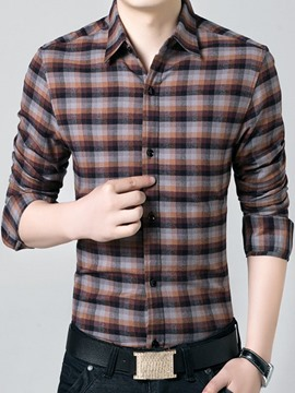 Ericdress Color Block Plaid Thicken with Velvet Men's Shirt