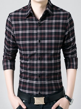 Ericdress Plaid Thicken Vogue Men's Shirt