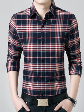 Ericdress Plaid with Velvet Warm Men's Shirt