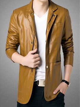 Ericdress Top Plain Stand Collar PU Men's Jacket
