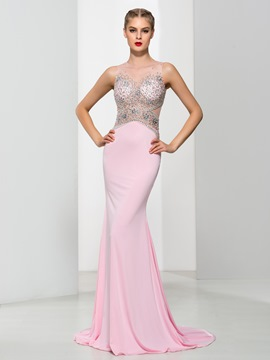 Ericdress Elegant Straps Beading Pearls Mermaid Evening Dress