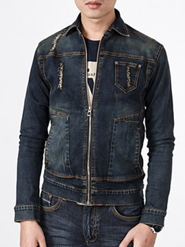 Ericdress Denim Zip Men's Jacket