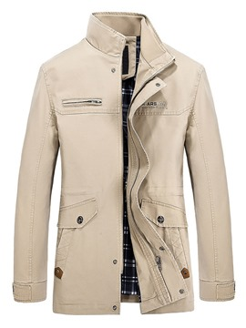 Ericdress Plain Zip Stand Collar Men's Trench Coat