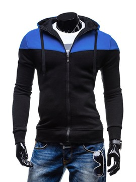 Ericdress Color Patched Zipper Men's Hoodie