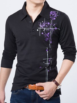 Ericdress Flower Printed Buttons Design Pullover Men's T-Shirt