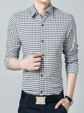 Ericdress Plaid Long Sleeve Slim Men's Shirt