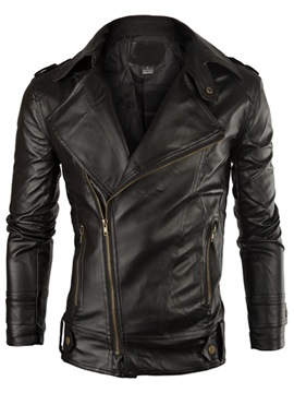Ericdress Oblique Zip Vogue Lapel PU Men's Jacket