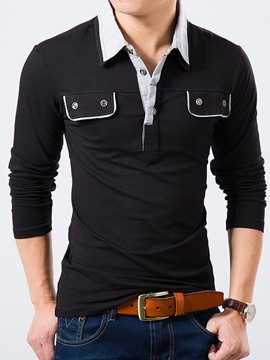 Ericdress Pocket Design Long Sleeve Polo Men's T-Shirt