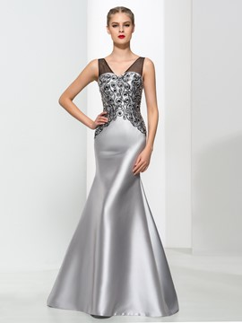 Ericdress Mermaid V-Ausschnitt Friesen elegantes Abendkleid