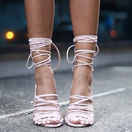 Ericdress Pink Lace up Stiletto Sandals