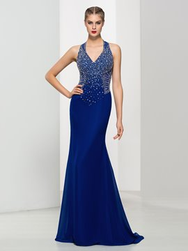 Ericdress V-Neck Straps Beading Open Back Evening Dress