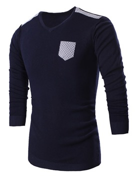 Ericdress V-Neck Patched Pullover Men's Sweater