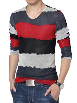 Ericdress Color Block Stripe Unique Men's T-Shirt