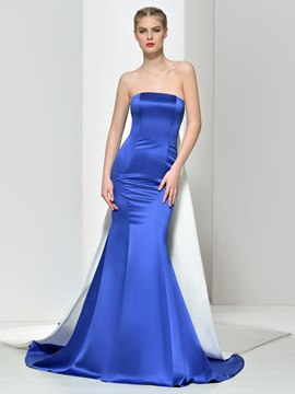 Ericdress Mermaid Strapless Watteau Train Evening Dress