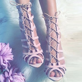 Ericdress Pink Suede Hollow Out Stiletto Sandals