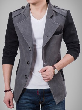 Ericdress Color Block Single-Breasted Vogue Slim Men's Woolen Coat