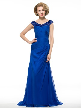 Ericdress Charming V Neck Beading Long Wedding Dress