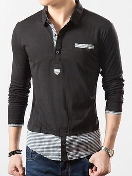 Ericdress Color Block Patched Long Sleeve Men's T-Shirt