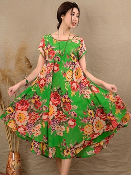 Ericdress Floral Print Double-Layer Maxi Dress