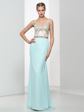 Ericdress Sheath Spaghetti Straps Beading Hollow Evening Dress