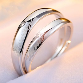 Ericdress Letter Craving Ring For Lovers