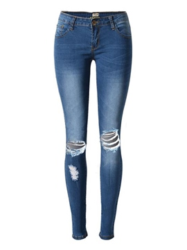 Ericdress Plain Mid-Waist Hole Women's Jeans