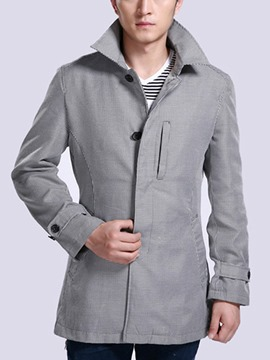 Ericdress Plain Slim Single-Breasted Men's Trench Coat