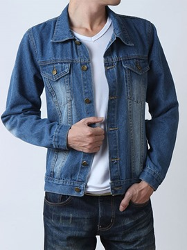 Ericdress Plain Denim Casual Men's Jacket