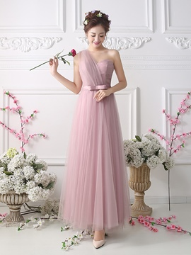 Ericdress Charming One Shoulder Long Bridesmaid Dress