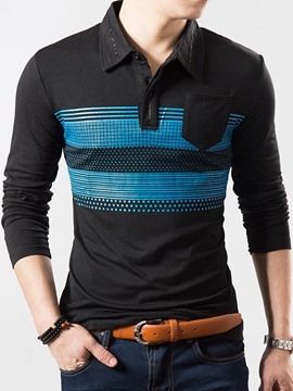 Ericdress Color Block Long Sleeve Vintage Casual Men's T-Shirt