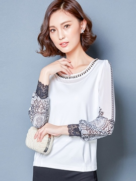 Ericdress Patchwork Lace Bead T-Shirt