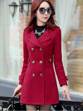 Ericdress Classic Plain Double-Breasted Coat