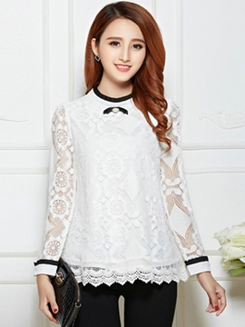 Ericdress Color Block Lace Patchwork Blouse