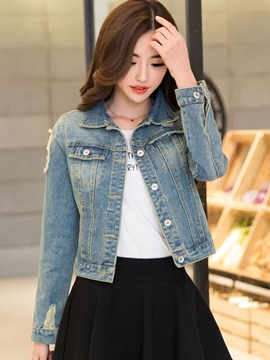 Ericdress Worn Lapel Denim Outerwear