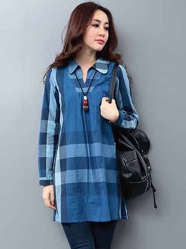 Ericdress Plaid Loose Casual Blouse