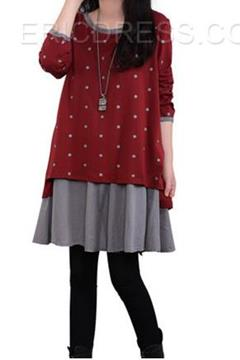 Ericdress Admirable Polka Dot Long Sleeve Casual Dress