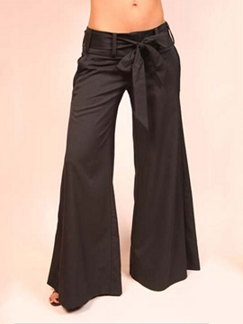 Ericdress Solid Color Lace-Up Wide Legs Pants