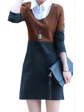 Ericdress Color Block Patchwork Lapel Casual Dress