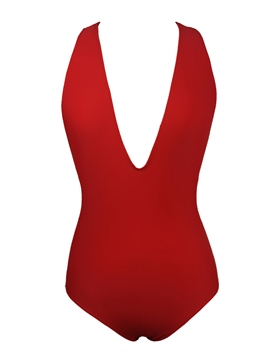 Ericdress Plain Deep V-Neck Monokini