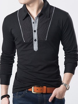 Ericdress Shirt Collar Long Sleeve Pullover Men's T-Shirt