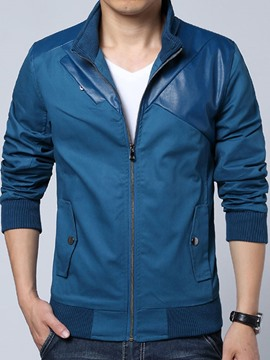 Ericdress Patchwork Slim Zip Casual Men's Jacket