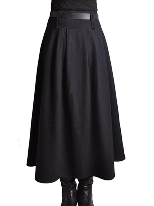 ericdress plain pleated belt maxi skirt 11608220