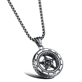 Wheel Shaped Pendant Men's Necklace