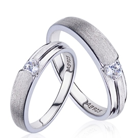 Ericdress Platinum Plated Silver Couple Ring