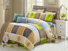 Ericdress Coconut Trees Plaid Cotton Bedding Sets