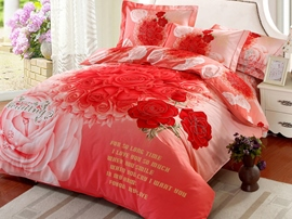 Ericdress Romantic Promise Rose Print Wedding Bedding Sets